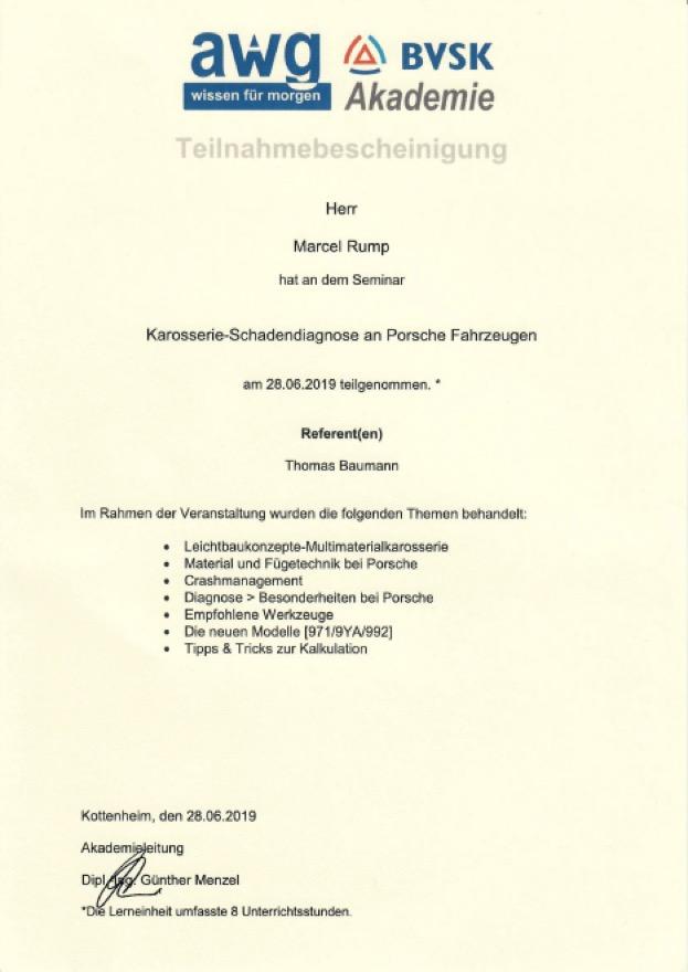 KFZ-Gutachter Zertifikat 2